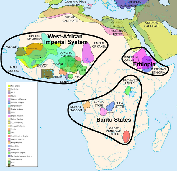 Map showing groupings of precolonial African empires, including a very large cluster in west Africa, a smaller cluster in Ethiopia, and some scattered states around central Africa