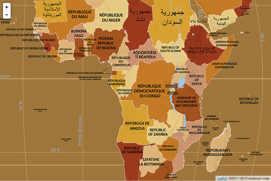 Endonym Africa The endonym map of Africa