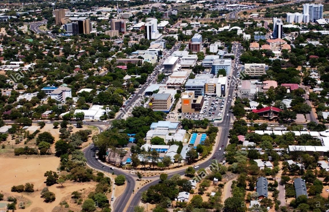 Aerial shot of downtown Gaborone, Botswana, with a number of