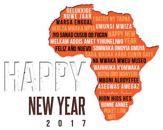 "The image shows the continent of Africa with the phrase ""happy new near"" written in a wide range of local and colonial languages"