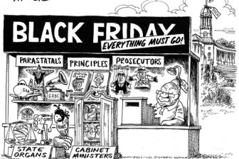 "The cartoon shows Jacob Zuma sitting in a kiosk labeled ""Black Friday,"" with the items for sale including ""parastatals,"" ""principles"" and ""prosecutors."""