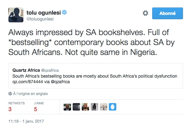 The image shows a tweet from Tolu Ogunlesi, expressing admiration for the percentage of books on South Africa which are by South African authors