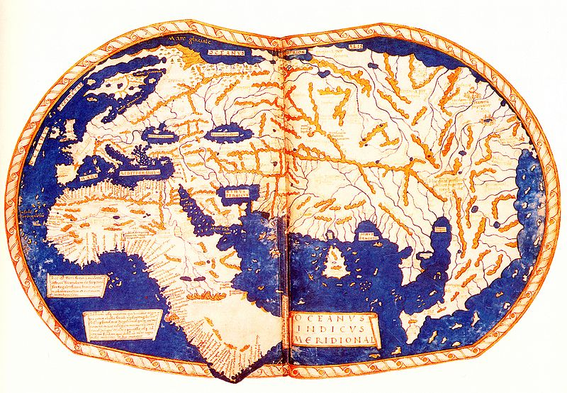 The image shows a map of the world from 1489