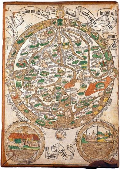 The image shows a map of the world from 1480