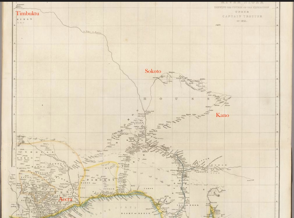 The image shows a map of West Africa from 1844