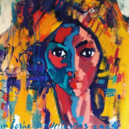 The photo shows a colourful painting of a woman in a headwrap