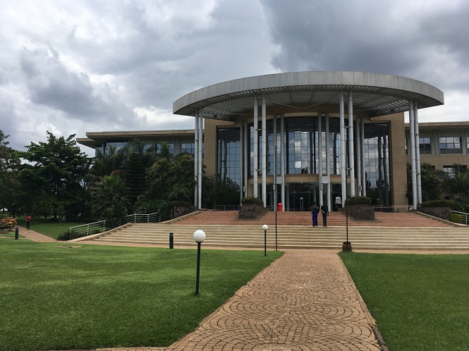 Exterior shot of the modern, glass-walled library at United States International University in Nairobi