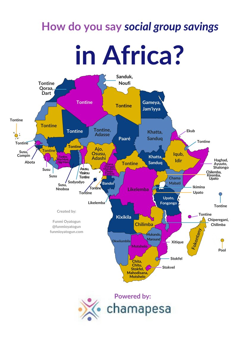 Map showing what rotating savings groups are called throughout Africa