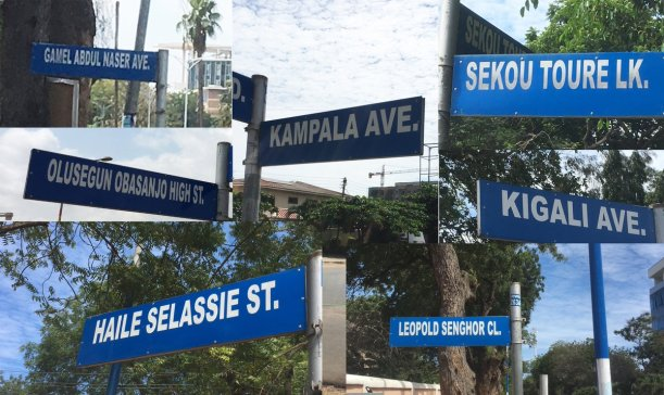 A selection of street signs from Accra, including Gamel Abdul Nasser Ave, Olusegun Obasanjo High St, Haile Selassie St, Kampala Ave, Sekou Toure Lane, Kigali Ave, and Leopold Senghor Close