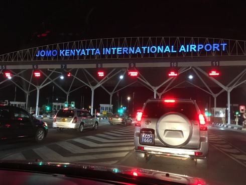 The entrance to Jomo Kenyatta International Airport at night