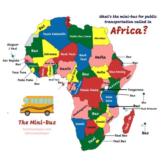 Map of Africa showing what a mini bus is called in each country