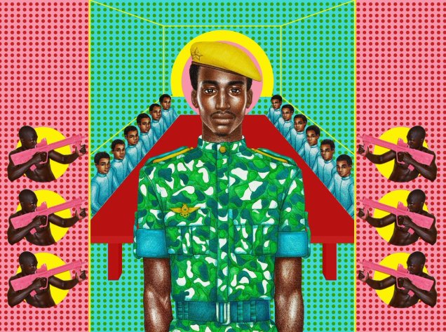 A colorful green and pink background with stylized images of Burkina Faso's president Thomas Sankara, surrounded by young men holding pink assault rifles