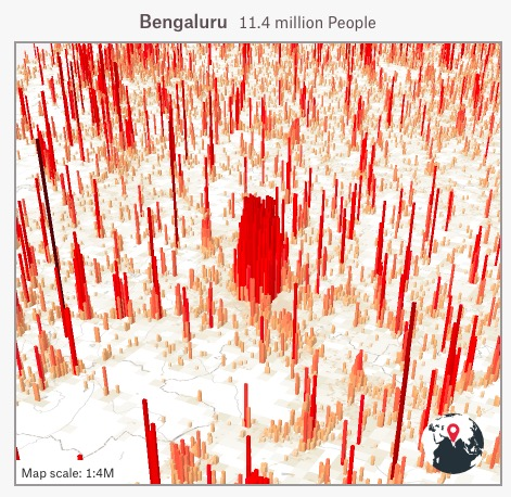Map of Bengaluru, showing lots of high red peaks of population with less densely inhabited white space between them