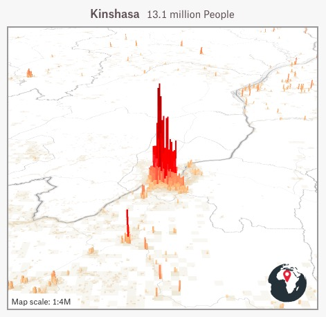Map showing the population of Kinshasa as a red mountain.  All of the surrounding area is white and largely devoid of people.