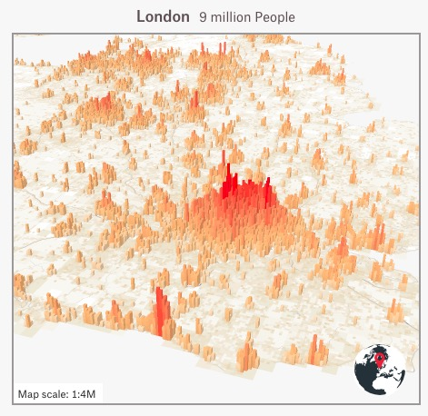 Map showing London's population as a mountain.  There's a large red peak in the city itself, but lots of smaller red peaks in all the surrounding towns.