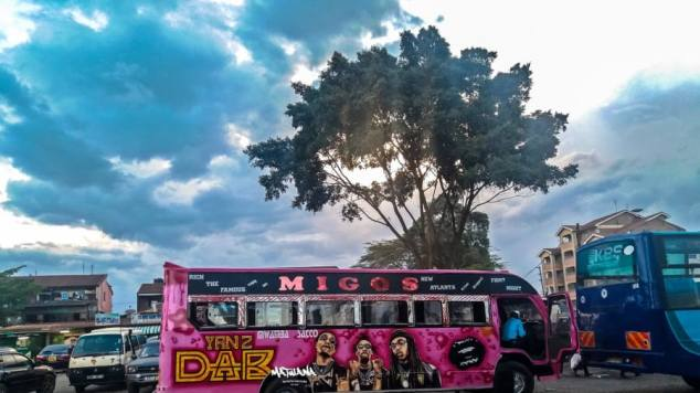 A bright pink bus sits in front of a tree at sunset