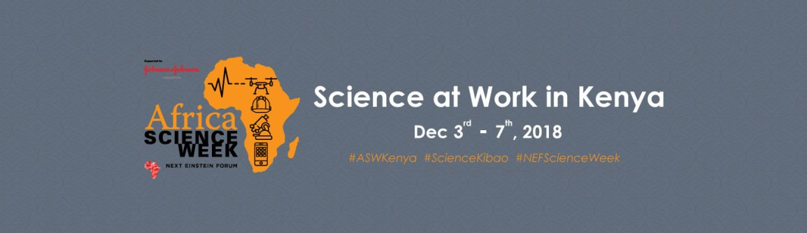 "An orange logo of Africa with a drone, a hard hat, and a microscope on it next to the phrase ""Africa Science Week,"" and then the phrase ""Science at Work in Kenya"""