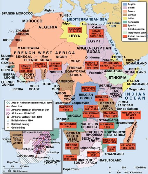 Map listing uprisings against colonization across Africa