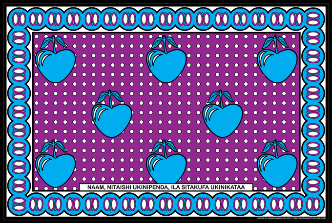 A cloth printed with blue cherries on a purple background