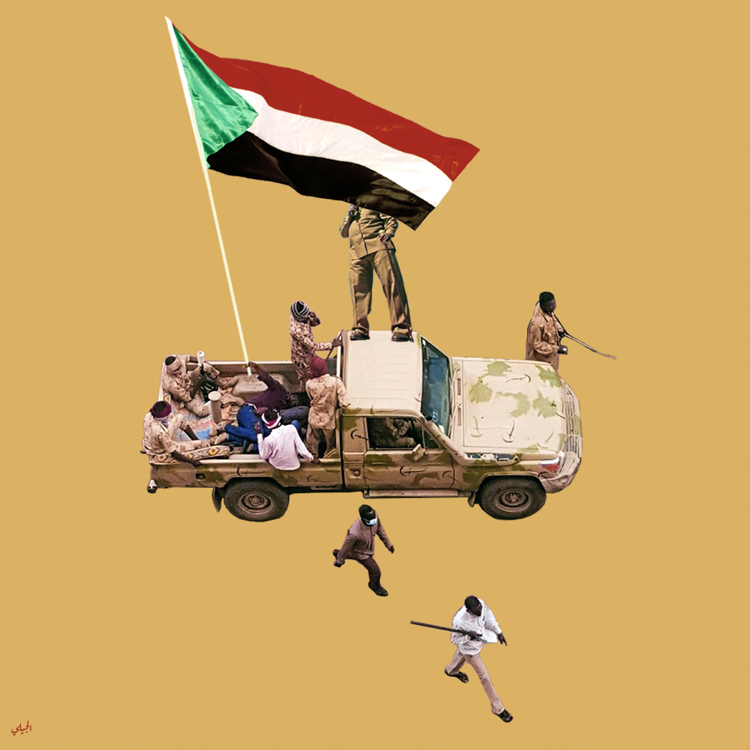 An overhead view of a pick-up truck painted with camouflage, with several Sudanese men sitting in the back, and a very large Sudanese flag waving overhead