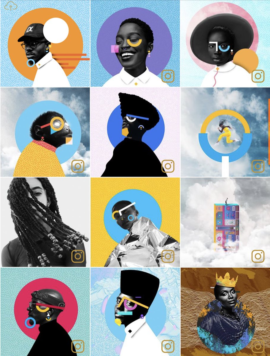 12 colorful portraits of black people