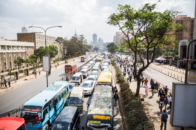 A road packed with buses in central Nairobi