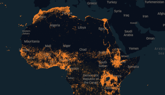 A map of central and northern Africa, showing high population density along the North African coast, in West Africa, and in the Rift Valley in East Africa