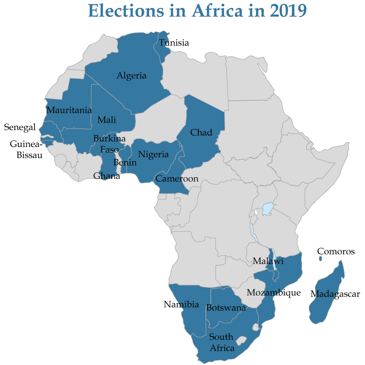 Map showing that elections will be held in 15 African countries in 2019