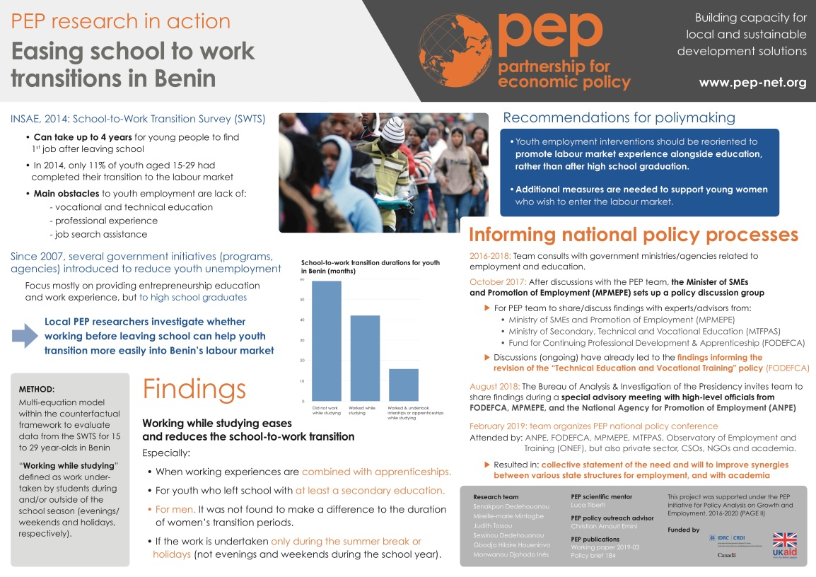 A poster describing research on school to work transitions in Benin.  The main finding is that young people find jobs more quickly out of school if they have apprenticeships, or if they work during summer break while they're still in school