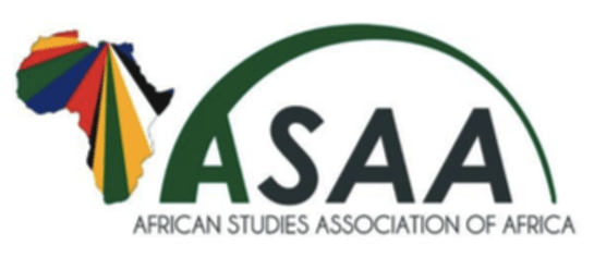 The logo of the African Studies Association of Africa, showing the continent with a rainbow of colors through it