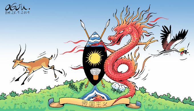 A cartoon showing a Chinese dragon scaring the crane and impala away from the Ugandan national crest