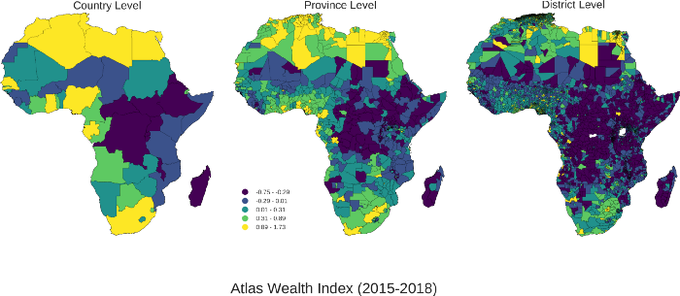 Maps showing that there appears to be much more poverty in Africa when it's measured at the district level rather than the country level