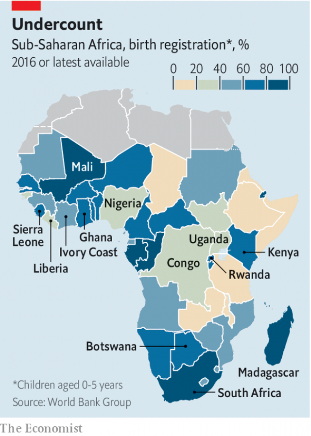 A map showing birth registration rates in Africa, which vary from 100% in South Africa to less than 20% in Tanzania