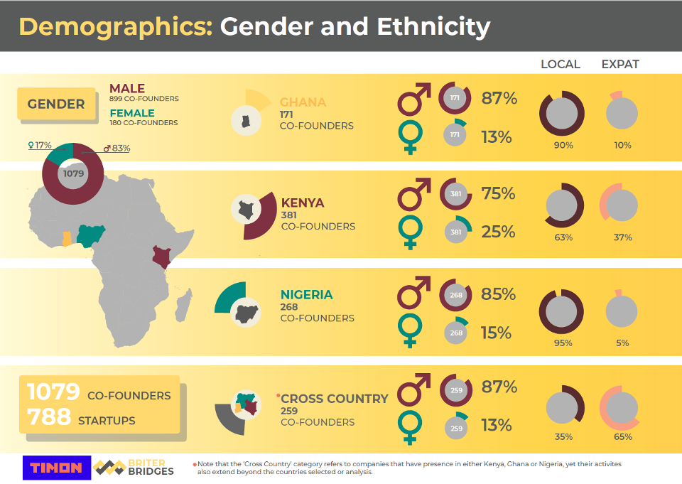 A graph showing the gender and national breakdown of startup founders in Africa