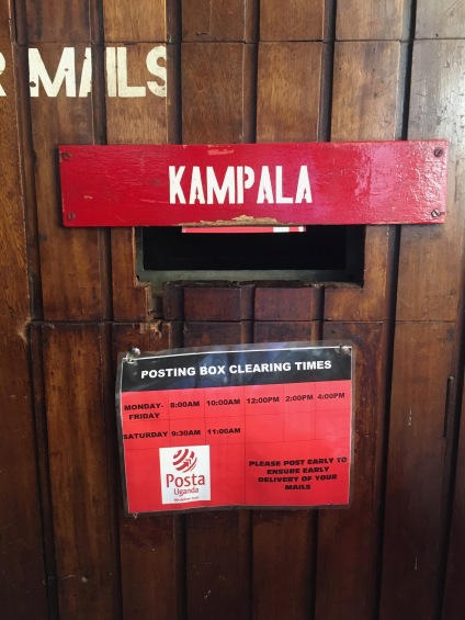 "A mailbox which says ""Kampala"" on it"