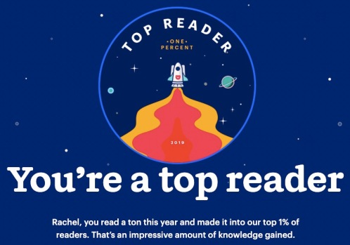 "A drawing of a rocket with the text ""top reader, one percent"" next to it, and the text ""you're a top reader"" below it"