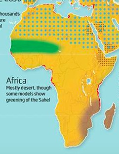 A map showing that Africa will mostly be desert at 4 degrees Celsius of global warming, with a bit of greenery in the Sahel