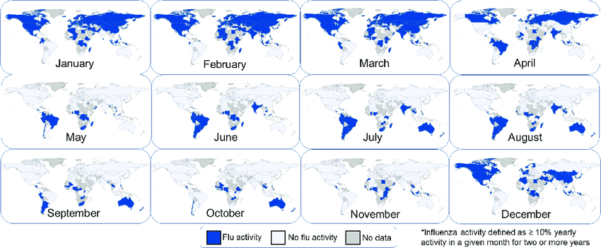 Global-maps-of-monthly-influenza-activity-2011-2016