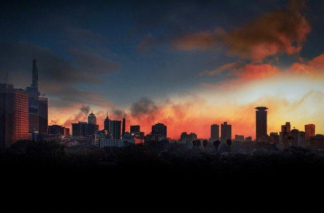 Sunset behind the Nairobi skyline