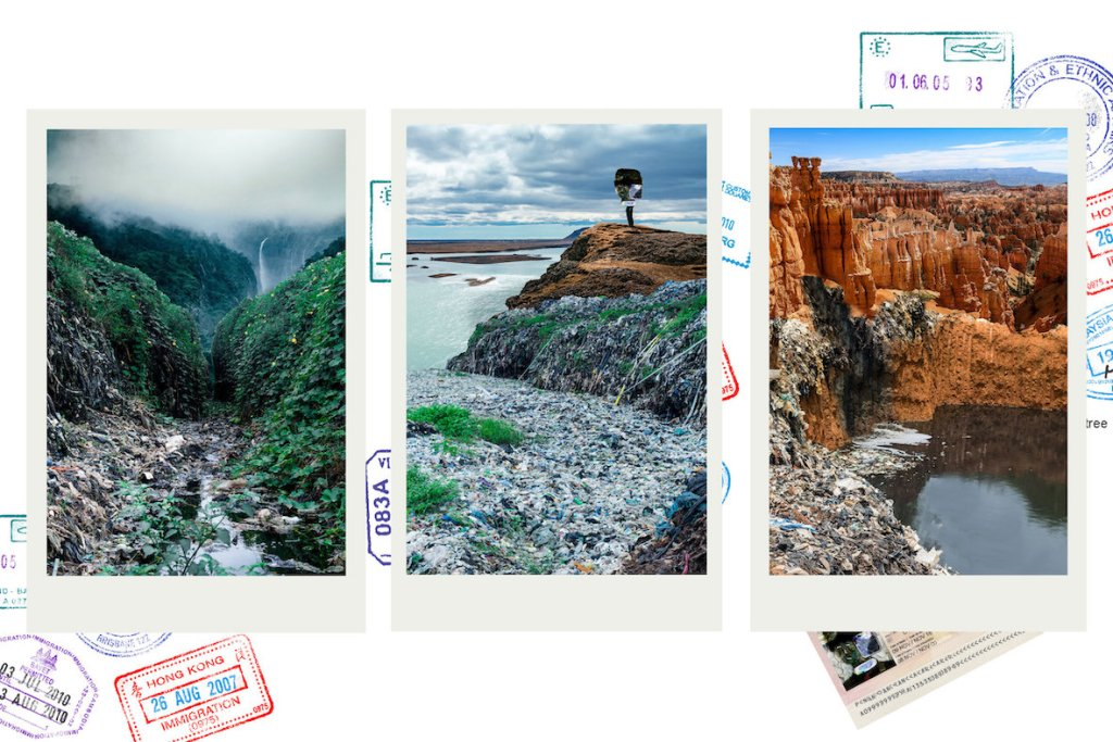 Three images of beautiful natural settings with plastic rubbish scattered around them, and travel stamps in the background